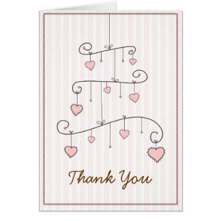 Sweet Heart Pink Baby Girl Mobile Thank You Card