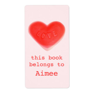 Sweet Heart Pink bookplate label