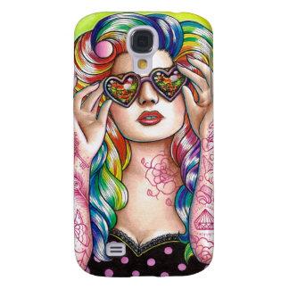 Sweet Heart Tattooed Rainbow Hair Pin Up Samsung Galaxy S4 Case