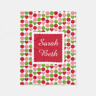 Sweet hearts & dots, rose, pink & green, add name fleece blanket