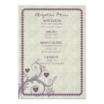 Sweet Hearts Eggplant Reception Menu ID169 13 Cm X 18 Cm Invitation Card