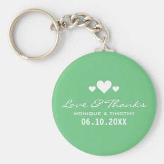 Sweet Hearts Mint Green Wedding Thank You Basic Round Button Key Ring