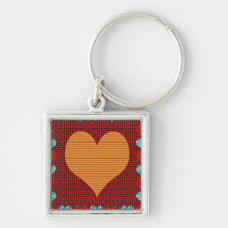 Sweet Hearts Moon Star Wave Cartoons KIDS giveaway Silver-Colored Square Key Ring