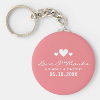 Sweet Hearts Soft Pink Wedding Thank You Basic Round Button Keychain