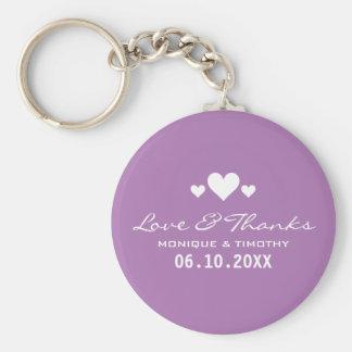 Sweet Hearts Soft Purple Wedding Thank You Basic Round Button Key Ring