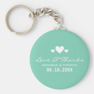 Sweet Hearts Soft Teal Wedding Thank You Basic Round Button Key Ring