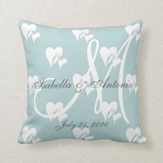 Sweet Hearts White Monogram Blue Wedding Keepsake Throw Pillow