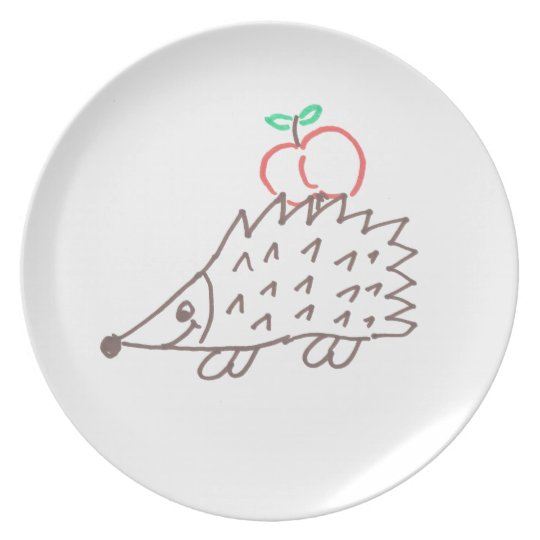 Sweet hedgehog with apple plate