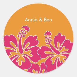 Sweet Hibiscus Wedding Envelope Seals Round Sticker