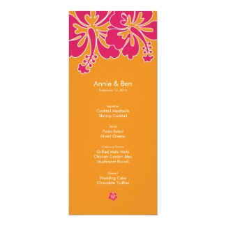 Sweet Hibiscus Wedding Menu Card