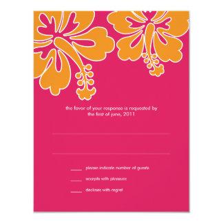 Sweet Hibiscus Wedding RSVP Card