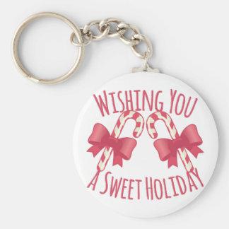 Sweet Holiday Basic Round Button Key Ring