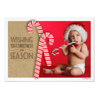 Sweet Holiday Photo Card with Cute Candy Canes