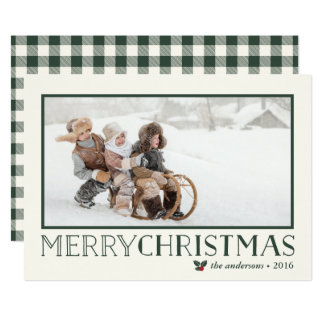 Sweet Holly | Merry Christmas Holiday Photo 13 Cm X 18 Cm Invitation Card