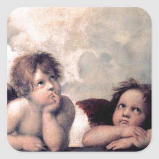 Sweet Italian Angels Renaissance Masterpiece Square Sticker