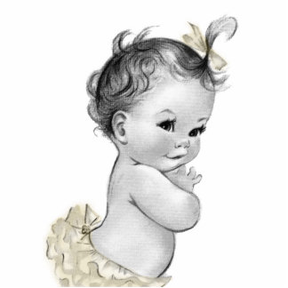 Sweet Ivory Vintage Baby Girl Shower Standing Photo Sculpture