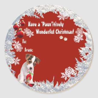 Sweet Jack Russell Christmas Gift Tag Stickers