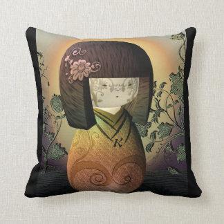 Sweet Japanese Kokeshi Doll Personalized Monogram Cushion
