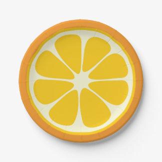 Sweet Juicy Orange Tropical Citrus Fruit Slice Paper Plate