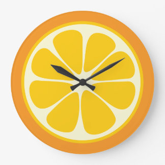 Sweet Juicy Orange Tropical Fruit Slice Kitchen Large Clock