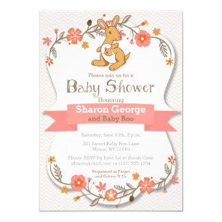 Sweet Kangaroo Floral Baby Shower Invitation