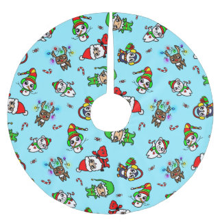 Sweet Kawaii Christmas Character pattern Brushed Polyester Tree Skirt