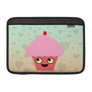 Sweet Kawaii Cupcake on a Hearts Background Sleeves For MacBook Air