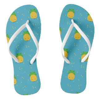 Sweet kawaii pineapple blue white flip-flops thongs