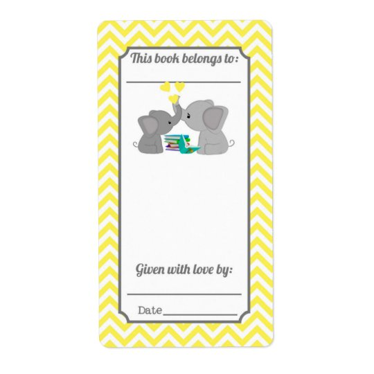 Sweet Kisses Elephant Yellow Chevron Bookplate