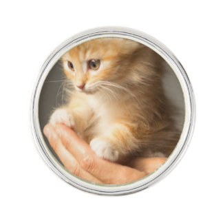 Sweet Kitten in Good Hand Lapel Pin