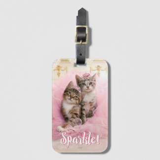 Sweet Kittens in Tiaras and Pink Sparkly Tutu Luggage Tag