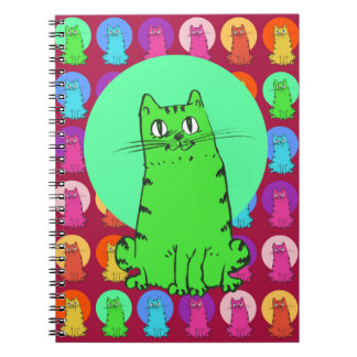 sweet kitties multiple color tint funny cartoon spiral notebook