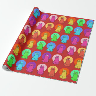 sweet kitties multiple color tint funny cartoon wrapping paper
