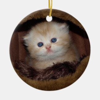 Sweet kitty blue eyes round ceramic decoration