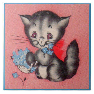 sweet kitty cat large square tile