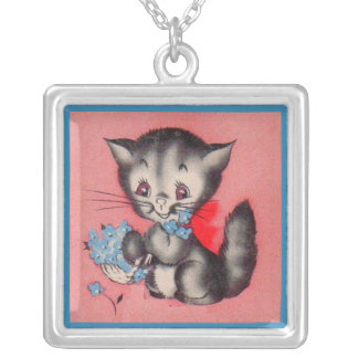 sweet kitty cat silver plated necklace