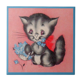 sweet kitty cat small square tile