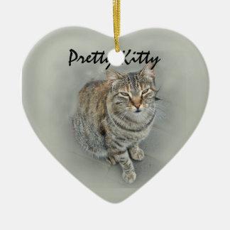 (Sweet Kitty Ceramic Heart Decoration