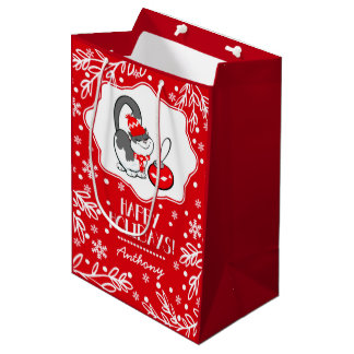 Sweet Kitty | Custom Name Christmas Gift Bags Medium Gift Bag