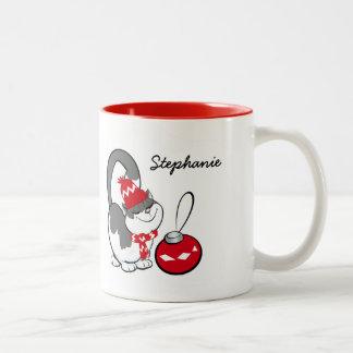 Sweet Kitty Custom Name Christmas Gift Mugs