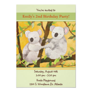 Sweet Koalas Kids Birthday Party Card