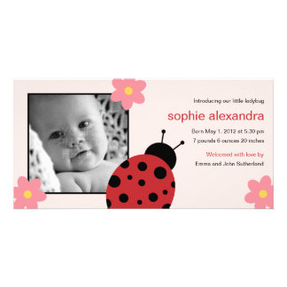 Sweet Ladybug Baby Girl Birth Announcement Card