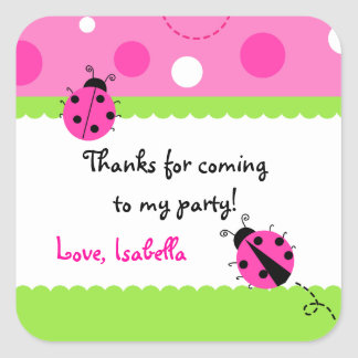 Sweet Ladybug Birthday Party Favour Stickers