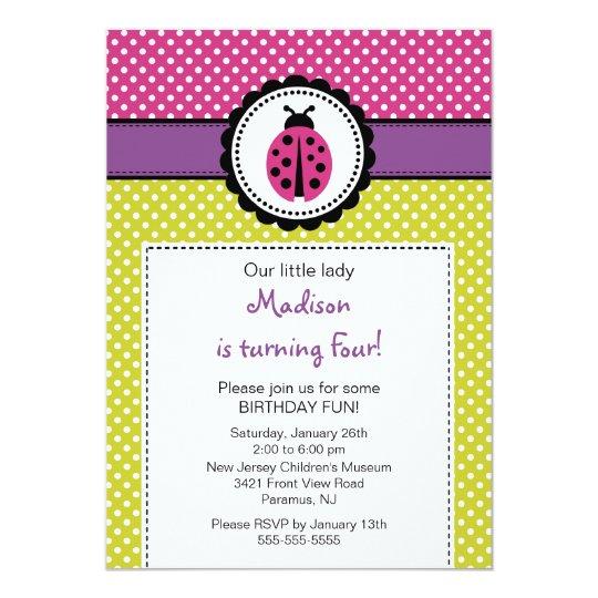 Sweet Ladybugs Birthday Invitation Polka Dots