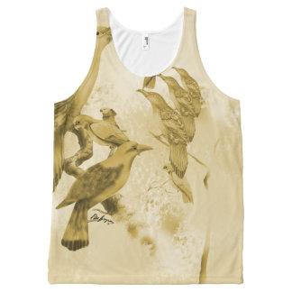 Sweet Li'l Aussie Birds (fawn) All-Over Print Singlet
