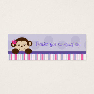 Sweet Lil Girl Monkey Party Favor Gift Tags Mini Business Card