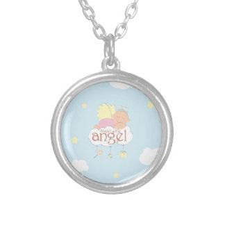 Sweet little angel blue round necklace