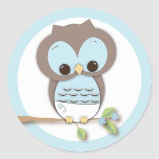 Sweet Little Baby Boy Owl on a Branch Classic Round Sticker