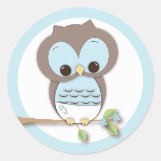Sweet Little Baby Boy Owl on a Branch Round Sticker