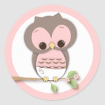 Sweet Little Baby Girl Owl on a Branch Round Stickers